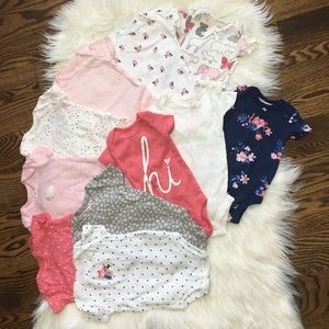 Set of 11 Carter's NB girls short sleeve onesies
